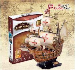 Wholesale Cubic Fun D Jigsaw Puzzle Children Toy Santa Maria Yacht Ship Model T4008h