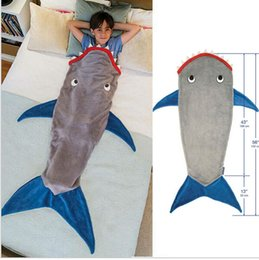 Wholesale Kids Mermaid Sleeping Bag Shark Crystal Wool Warm Sleep sacks Mermaid Tail Fleece Blankets Soft Blankets color KKA368