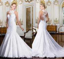 2017 Mermaid Wedding Dresses with Lace Applique Vintage Long Bridal Dresses Wedding Gowns Illusion Back Vestidos De Noiva