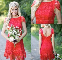 Red Full Lace Short Bridesmaid Dresses Cheap Western Country Style Crew Neck Cap Sleeves Mini Backless Homecoming Cocktail Dresses BA30