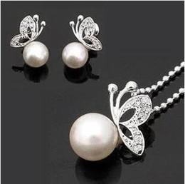 Silver Pearl Butterfly Stud Earrings Necklace Silver Pearl Butterfly Jewelry Set Silver Cream Pearl Rhinestone Crystal Set