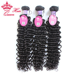 "Queen Hair 8-30"" 3pcs lot With Mixed Lengthes Deep Curl Top Quality Virgin Hair Malaysian Extensions Weaves DHL Free Shipping"