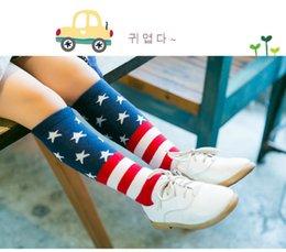 Wholesale Lovely Tube Socks Knee Midum Stockings Printed USA American Flag Cotton Stars Stripes USA Socks for Baby Kids Boys Girls Leg Warmers