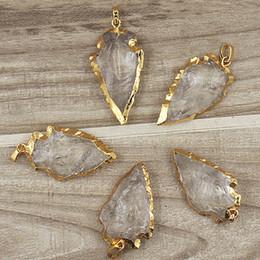 Rock Crystal Quartz Arrowhead Arrow Pendant Charms with Gold Plated Edges Bail, Crystal Quartz Druzy Arrowhead Gemstone Pendant SD48_30