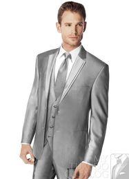 Wholesale Silver gray color Notch Lapel Groom Tuxedos Groomsmen Men Wedding Suits Best man Suits Prom Clothing Jacket Pants Vest Tie