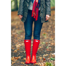 Wholesale Best Selling Woman Rain Boots Top Quality Rainboots Wellies Boots Women High Boots Waterproof H brand Boots Rubber outdoor water shoes