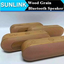 Wholesale Wood Wooden Grain Bluetooth Speaker Pill Stereo Super Bass Wireless Portable Subwoofer Hifi Music Player support TF Card Line In FM