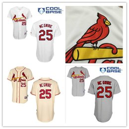 Promotion maillots de sport Sport Chemises Remise Mark McGwire Jersey St. Louis Cardinals # 25 Authentic Baseball Jerseys Broderie Stitched Onfield Accueil Hommes