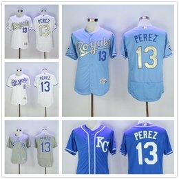 Wholesale 2016 Flexbase MLB Kansas City Royals Salvador Perez Jersey KC Baby Blue Grey Gold Letter