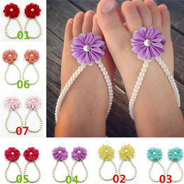 Wholesale New Arrivals Toddler Baby Foot Rings Adjournment Beach Sandals First Walker Shoes Pearls Flower Chiffon CM Fashion GA412