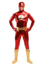 Red And Gold the Flash Super Hero Costume fullbody high elasticity metallic costume for halloween party ,Unisex,