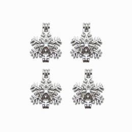 10pcs snowflake essential oil diffuser jewellery provides silver-plated pearl cage pendant - add your own pearl to make it more attractive