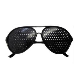 Wholesale Black Unisex Vision Care Pin hole Eyeglasses pinhole Glasses Eye Exercise Eyesight Improve plastic DHL
