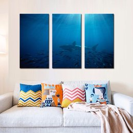 Wholesale LK3236 Panels Oil Painting Great White Shark In Australia Blue Sea Fish Group Wall Art Modern Pictures Print On Canvas Paintings For Home