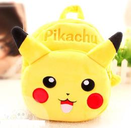Wholesale Pikachu Cartoon Yellow Backpack Baby Schoolbag Kindergarten Animal bags Plush Doll Toy Christmas Gift Double Shoulders