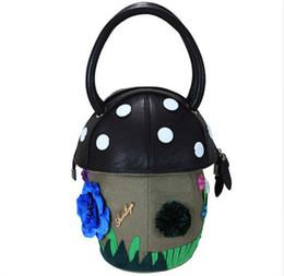Wholesale 2016 Totes creative fun cartoon adorable tote bag ladies small fresh mushrooms Japanese cute candy colored handbags