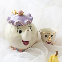 Wholesale Hot Sale Cartoon Beauty And The Beast Teapot Mug Mrs Potts Chip Tea Pot Cup Optional Purchase Lovely Xmas Gift