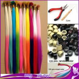 Wholesale gradient color feather hair multicolour hair i tip extensions ball hair extension100pcs Beads Hook plier kit