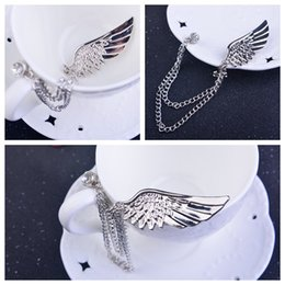 Korean version of the angel wings brooches small suit male and female pins silver with chain brooch