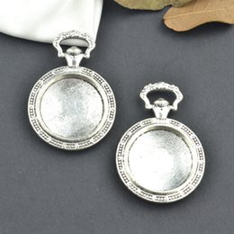 wholesale 20pcs Vintage tibetan silver watch charm cabochon 19*19mm metal pendants fit diy necklace jewelry sentting 25107