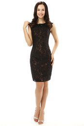 Wholesale The new spring and summer white gauze round neckline shoulder black lace collar design nail bead brief paragraph Cocktail Dresses Fash
