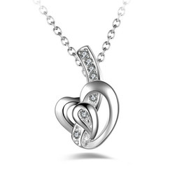 Romantic Crystal Love Pendant New Women Fashion Necklace Charm Sterling Silver Jewelry Lover's Gift Romantic Crystal Love Pendant