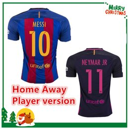 Wholesale Barcelona Player version MESSI jersey A INIESTA SUAREZ SERGIO PIQUE I RAKITIC NEYMAR JR Shirt Club World Cup