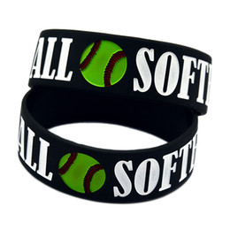 Wholesale Shipping 50PCS Lot Softball 1'' Wide Band Ink-filled Colour Silicone Wristband Bracelet for Sport Adult Size