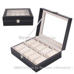2016 new 10Grids slots PU leather&Wood Board watch display case wholesale grid watch display box storage box watch case 10 rangement bijoux
