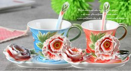 Wholesale Creative Peony Flower Coffee Cup Chinese Ceramic Tea and Coffee Cups Set pc Bone Mug With pc Saucer and pc Spoon marriage gift