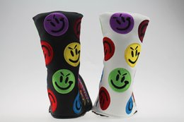 Wholesale hotting sale The newest fashion happy face golf headcovers top PU leather covers top quality golf headcover colors