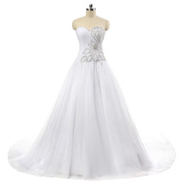 Sheer Beaded Tulle Ball Gown Wedding Dress 2016 Jewel Neck Bridal Gown With Court Train Real Photo