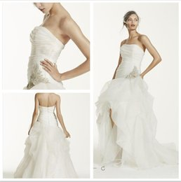 Wholesale Short Beaded After Dresses - 2016 After short before long Ball Gown Wedding Dresses Strapless Organza bodice and Tulle skirts with beaded detail Back Zipper SPK470 gowns