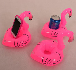 2016 Wholesale-Mini Cute fanny toys Pink Flamingo Floating Inflatable Drink Can Holder Pool Bath Toy hot