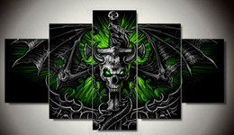 5 Panel Wall Art Group Oil Painting skull dragon On Canvas For Wall Decor Wall Pictures as a gift F 1285
