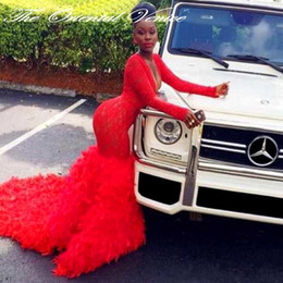 Wholesale African Style Black Girl Prom Dresses Arabic Red Lace Long Sleeve Evening Dress Sexy Deep V Neck Feather Mermaid Formal Party Gowns