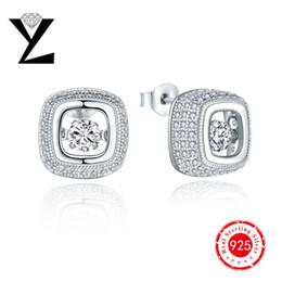 Wholesale 2016 High Quality Fashion Sterling Silver Square Dancing CZ Diamond Earrings for Women Crystal Stud Earrings Best Friends Gift DE63820A