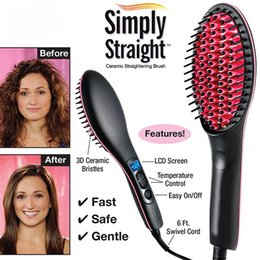 Wholesale 5 ps Simply Straight Hair Straightener Brush Comb Ceramic Electric Digital Control with LED Display Free to all Country