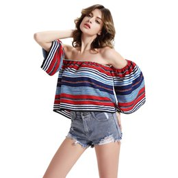 Wholesale 2016 Ladies Floral Printed Strips Women tshirt Sexy Off Shoulder Top Half Sleeve Casual Loose Summer T shirt Tee Shirt Femme FS0326
