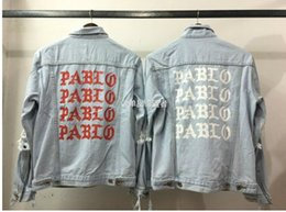 Wholesale Life Jackets Pockets - KMO european fashion trends brand clothing cool jackets punk Kanye west the life of pablo jean ripped denim jacket men clothes
