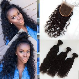 Malaysian Water Wave Human Hair Lace Closure With 3pcs Hair Bundles Natural Black Unprocessed LaurieJ Hair