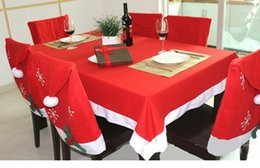 Wholesale Tablecloths Chair Cover Set Christmas Decoration Red Table Cloth Square Flannel Dining Table Covers Banquet Holiday Xmas Ornament