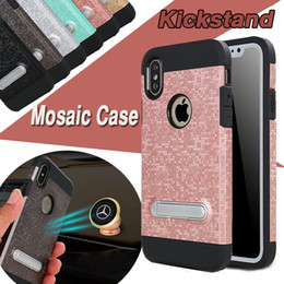 Mosaic Design Wrestling Case Armor 2 in 1 Bracket Magnetic Shockproof Hybrid PC+TPU With Stent Kickstand Cover For iPhone X 8 7 Plus 6 6S