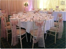 Wholesale Garden Beach Wedding Sheer Pink Tulle Organza Bow Chair Cover Sash Long Bows Chair Sashes Covers