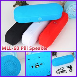 Wholesale MLL Mini Pill Bluetooth Speaker Portable Wireless Speaker Big Sound Box Bulit in Mic Handsfree Support TF USB VS Bt808