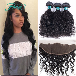 """13x4 Lace Frontal With Bundles,7A Brazilian Water Wave Hair Bundles With Frontal Closure,8""""-30""""Inch Length Hair Free Shipping DHL"""