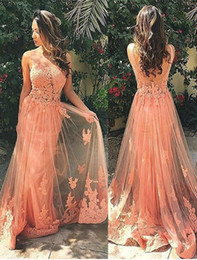 Backless prom dresses orange color lace appliques 2016 tulle Illusion evening gown long sexy round neck sheer top vestidos