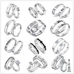 Mixed 12 Style 925 Silver Plated Adjustable Ring Jewelry Engagement letters Love Zircon Wedding Lovers Couple Rings for Women Men