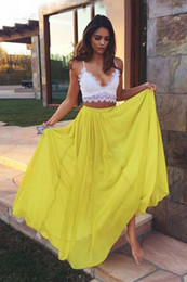 Two Pieces A Line Spaghetti Straps White Lace Top Yellow Chiffon Skirt Sexy Prom Dresses Free Shipping Custom Made Party Evening Gowns