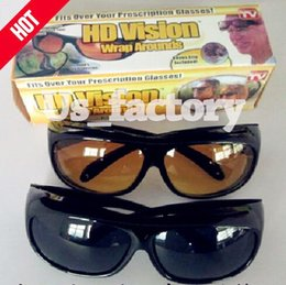 Wholesale HD Night Vision Sunglasses Wraparounds Wrap Around Glasses The Day Night Visor For Your Car With piece one Retail box
